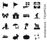 16 vector icon set   flag  gift ... | Shutterstock .eps vector #741699214