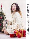 happy woman wearing in white...   Shutterstock . vector #741701251