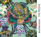 vector bright floral seamless... | Shutterstock .eps vector #741702241