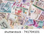 world paper money as background.... | Shutterstock . vector #741704101