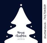christmas tree silhouette stars ... | Shutterstock .eps vector #741704509