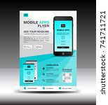 mobile apps flyer template.... | Shutterstock .eps vector #741711721