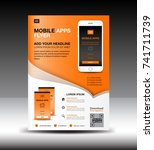 mobile apps flyer template.... | Shutterstock .eps vector #741711739