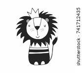 cute hand drawn lion  nursery... | Shutterstock .eps vector #741712435