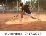 professional tennis player man... | Shutterstock . vector #741712714