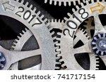macro photo of tooth wheel... | Shutterstock . vector #741717154