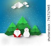 christmas paper origami... | Shutterstock .eps vector #741717445