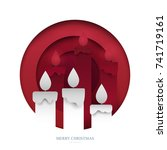 traditional candles in paper... | Shutterstock .eps vector #741719161