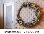 christmas wreath interior. | Shutterstock . vector #741720145