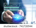 view of a stock exchange... | Shutterstock . vector #741720544