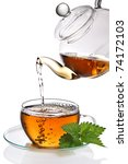 tea poured into cup on white... | Shutterstock . vector #74172103