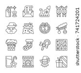 christmas thin line icon set.... | Shutterstock .eps vector #741724201