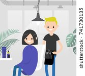hair salon. barber shop. young... | Shutterstock .eps vector #741730135