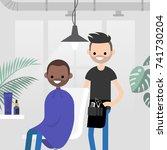 hair salon. barber shop. young...   Shutterstock .eps vector #741730204