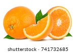 ripe orange isolated on white... | Shutterstock . vector #741732685