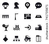 16 vector icon set   parachute  ... | Shutterstock .eps vector #741735871