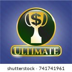 gold emblem with trophy with... | Shutterstock .eps vector #741741961