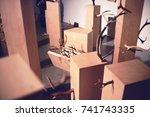 an art installation of wood... | Shutterstock . vector #741743335