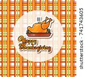 happy thanksgiving card.... | Shutterstock .eps vector #741743605