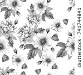 Stock photo monochrome seamless pattern with flowers rose mallow butterfly watercolor illustration hand 741744841