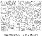doodles christmas elements.... | Shutterstock .eps vector #741745834