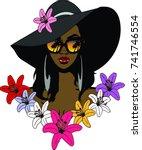 beautiful black ebony woman... | Shutterstock . vector #741746554