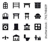16 vector icon set   arch... | Shutterstock .eps vector #741748609
