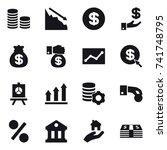16 vector icon set   coin stack ... | Shutterstock .eps vector #741748795