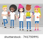 break at school. conversation.... | Shutterstock .eps vector #741750991