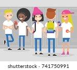 break at school. conversation.... | Shutterstock .eps vector #741750991