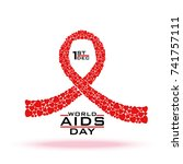 aids awareness red ribbon... | Shutterstock .eps vector #741757111
