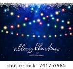 text merry christmas and happy... | Shutterstock .eps vector #741759985