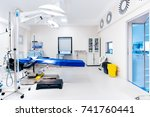 Surgery operating room, details of lamps and table in empty operating room. Healthcare concept