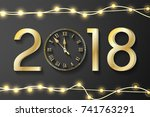 golden new year 2018 concept... | Shutterstock .eps vector #741763291