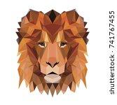vector polygonal lion isolated... | Shutterstock .eps vector #741767455