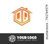 initial letter qq hexagonal... | Shutterstock .eps vector #741769579