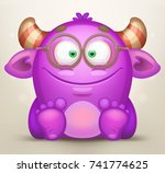 cute sitting monster | Shutterstock .eps vector #741774625
