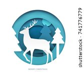deer on winter forest in paper... | Shutterstock .eps vector #741776779