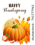 thanksgiving greeting card with ... | Shutterstock .eps vector #741777961