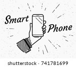 smartphone retro illustration... | Shutterstock .eps vector #741781699