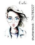 hand drawn beautiful woman... | Shutterstock .eps vector #741785227