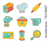 cute icon set - kitchen appliances - stock vector