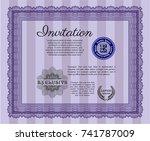 violet vintage invitation.... | Shutterstock .eps vector #741787009