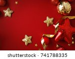 red and gold christmas ornaments | Shutterstock . vector #741788335