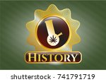 gold shiny badge with bong of... | Shutterstock .eps vector #741791719