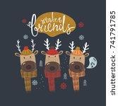 cute winter deer hand drawn... | Shutterstock .eps vector #741791785