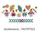 scandinavian christmas. gnomes. ... | Shutterstock .eps vector #741797311