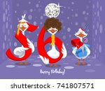 two goose holding the number 56....   Shutterstock .eps vector #741807571
