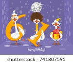 two goose holding the number 61....   Shutterstock .eps vector #741807595