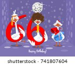 two goose holding the number 66.... | Shutterstock .eps vector #741807604